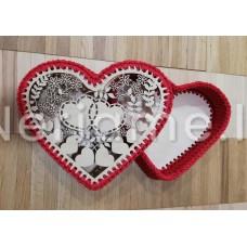 Komplektas dėžutei širdelė 24cm