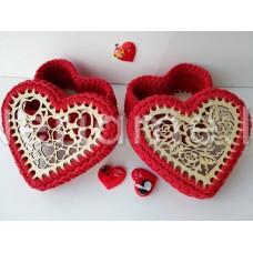 Komplektas dėžutei širdelė 16cm